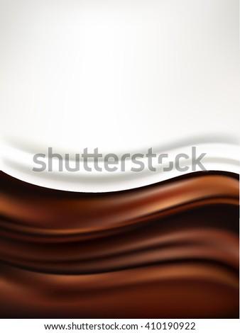 milk on chocolate background - stock vector