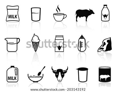 milk product icons set - stock vector