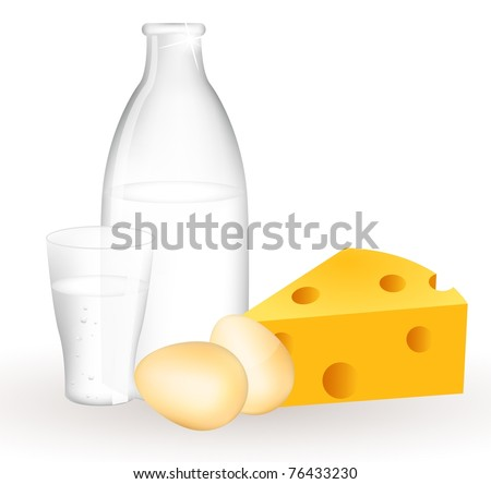 Milk products and eggs. Milk bottle, eggs and cheese. - stock vector