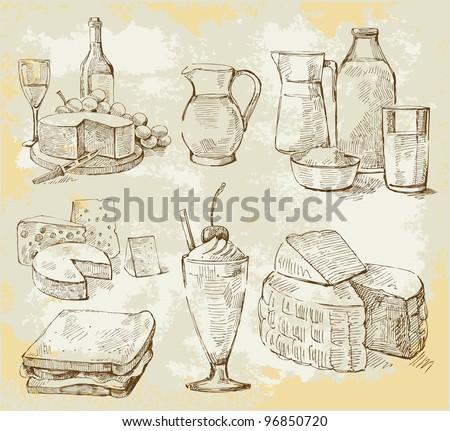 milk products vector set - stock vector