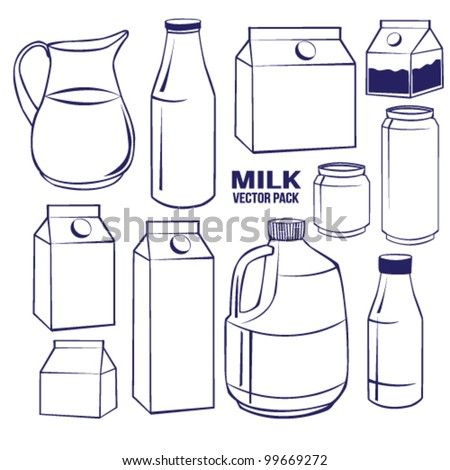 Milk set Vector Pack Line Art