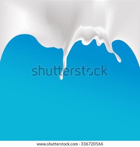 milk splash at the top of the design - vector illustration - stock vector