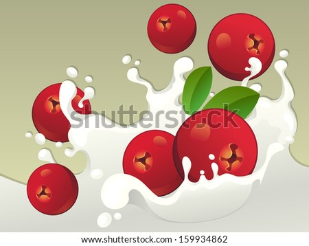 Milk splash with cranberries on light background. - stock vector
