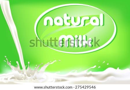 milk splashes - stock vector