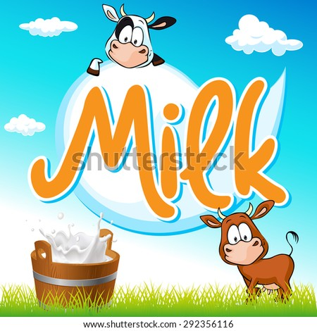milk tag with cow and pail on green grass - stock vector