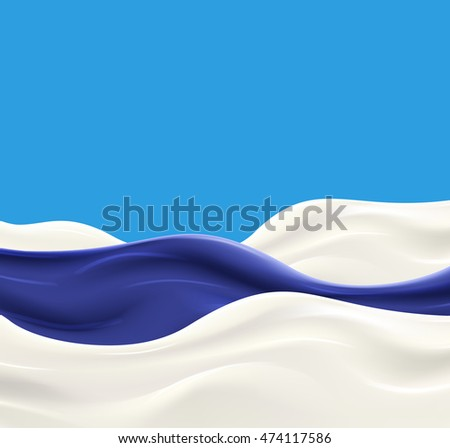Milk wave with blueberry jam on blue background. Fresh delicious yogurt splash vector illustration