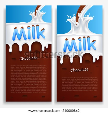 Milk with chocolate. Vector illustration - stock vector