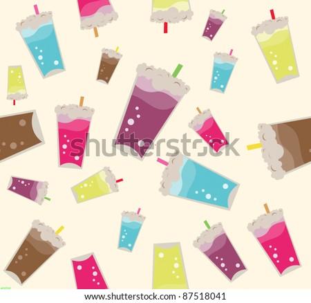 Milkshake repeat pattern - seamless - stock vector