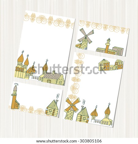 Mill, cottage, lighthouse. Template. set. Background, texture, banner, postcard. Sketch. - stock vector