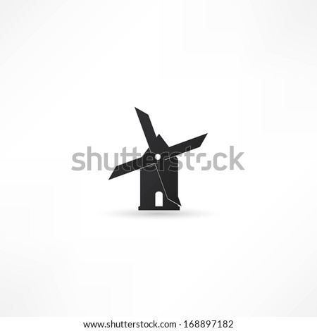 Mill icon isolated on white background. Vector illustration. - stock vector