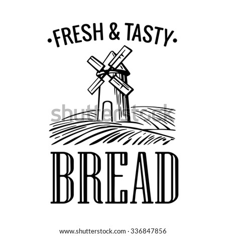 Mill on wheat field. Bread icon Vector. Bread icon Object. Bread icon Picture. Bread icon Image. Bread icon Graphic. Bread icon Art.  Vintage engraving illustration for logotype, poster, web, icon. - stock vector