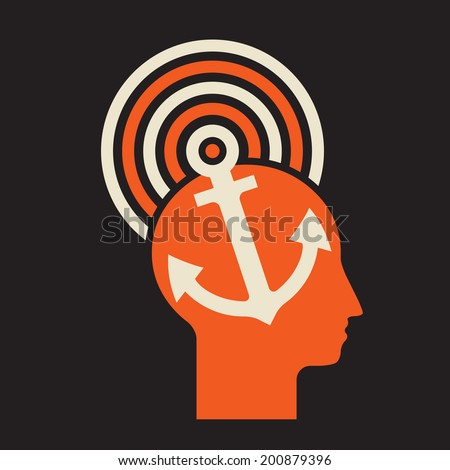 mind anchor - man controlled by strong dominating idea  - stock vector