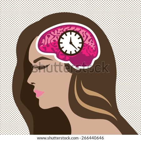 Mind Clock. Female. - stock vector