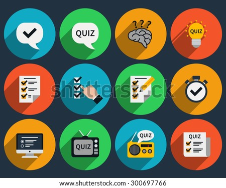 Mind games and quizzes flat icons. Question and answer, questionnaire and sign symbol. Vector illustration - stock vector