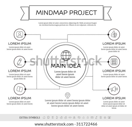 Mind-map infographic design concept with circles and icons. - stock vector