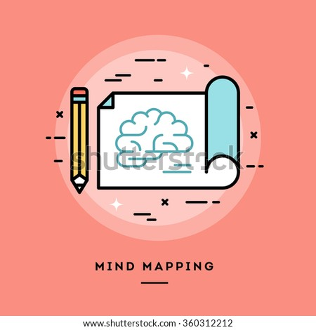 Mind mapping, flat design thin line banner, usage for e-mail newsletters, web banners, headers, blog posts, print and more - stock vector