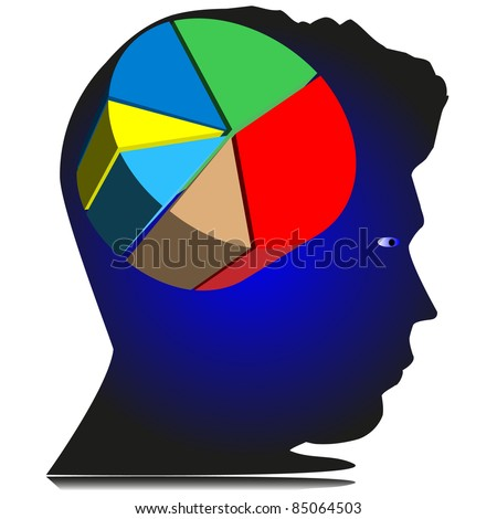 Mind share person head for business chart.Vector - stock vector