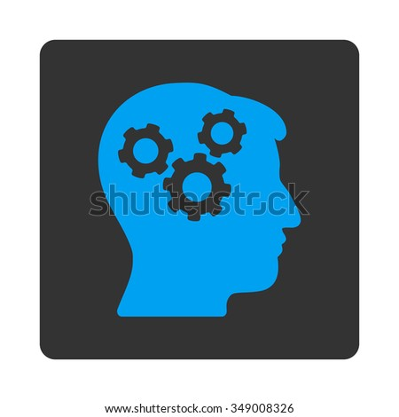 Mind vector icon. Style is flat rounded square button, blue and gray colors, white background. - stock vector