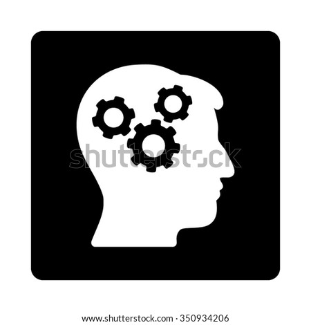 Mind vector icon. Style is flat rounded square button, white and black colors, white background. - stock vector