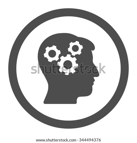 Mind vector icon. Style is flat rounded symbol, gray color, rounded angles, white background. - stock vector