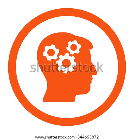 Mind vector icon. Style is flat rounded symbol, orange color, rounded angles, white background. - stock vector