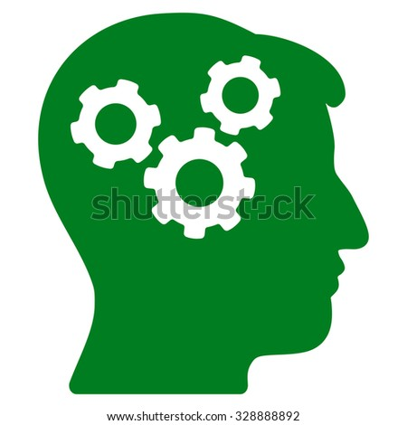 Mind vector icon. Style is flat symbol, green color, rounded angles, white background. - stock vector