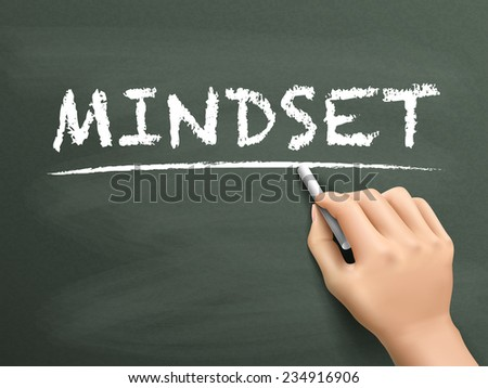 mindset word written by hand on blackboard - stock vector