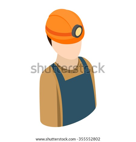 Miner isometric 3d icon. Single character of construction worker in helmet on a white - stock vector