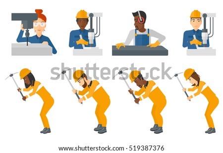 Miner working with a pickaxe. Mine worker in hard hat. Miner working at the coal mine. Worker operating metal press machine. Set of vector flat design illustrations isolated on white background.