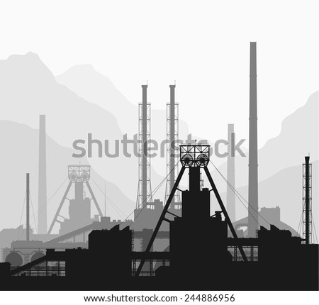 Mineral fertilizers plant over great mountain range. Black and white detailed vector illustration of large of manufacturing plant. - stock vector