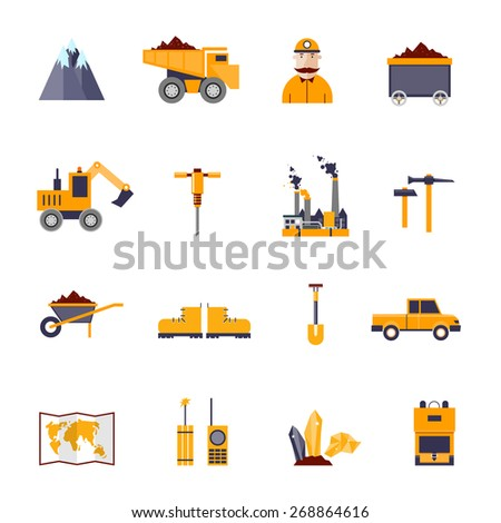 Mineral mining, black mining, coal industry icons set: mountain, truck, hammer, shovel, worker, factory, trolley, diamond, land, car, shoes, map, radio, explosives. Flat design elements. - stock vector