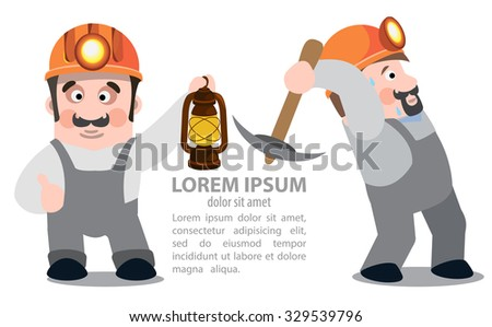 Miners posing with a pickaxe and a kerosene lamp, coal industry - stock vector