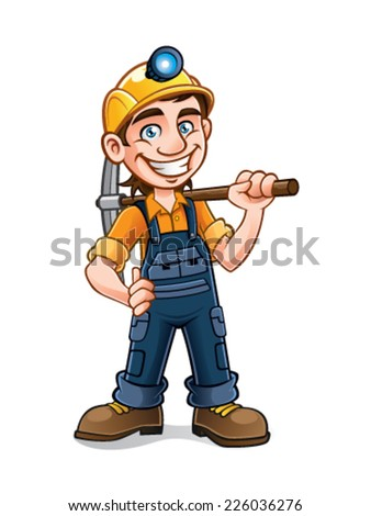 miners posing with a pickaxe on his shoulder and smiling happily - stock vector