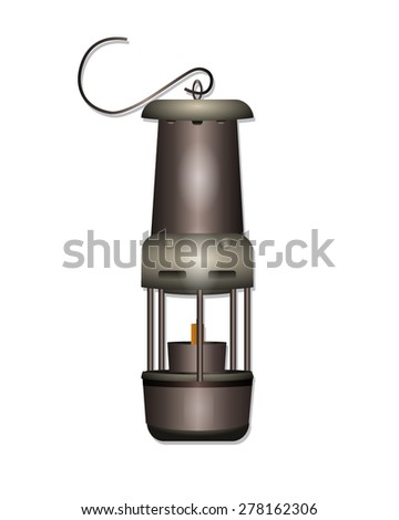 Miners Safe Lamp - stock vector