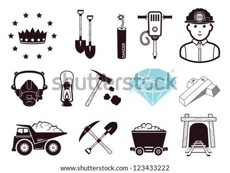 Miners set - stock vector