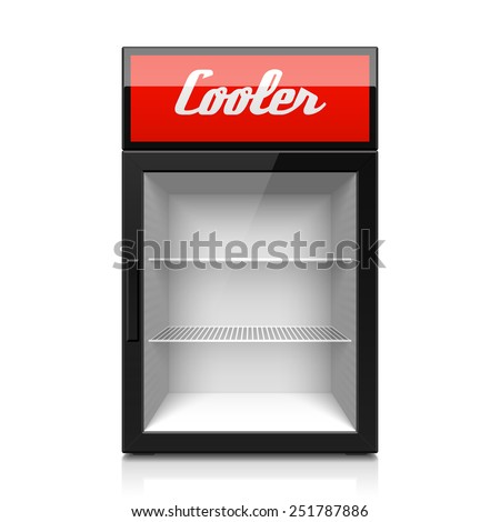 Mini glass door display cooler. Vector. - stock vector