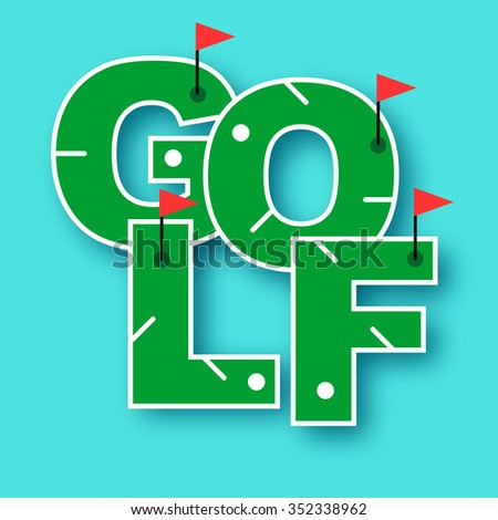 Mini golf text vector illustration  - stock vector