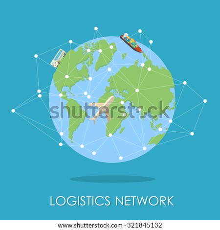 Mini planet concept. Truck heading to the city on horizon, huge cargo ship in the ocean. Delivery, transportation expedition concept. Global logistics, shipping and worldwide delivery business concept - stock vector