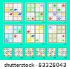 Mini-Sudoku vector set. Planets. Super easy and easy. - stock vector
