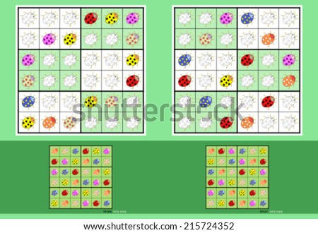 Mini-Sudoku 6 x 6. Vector set. Multicolor Ladybugs. - stock vector