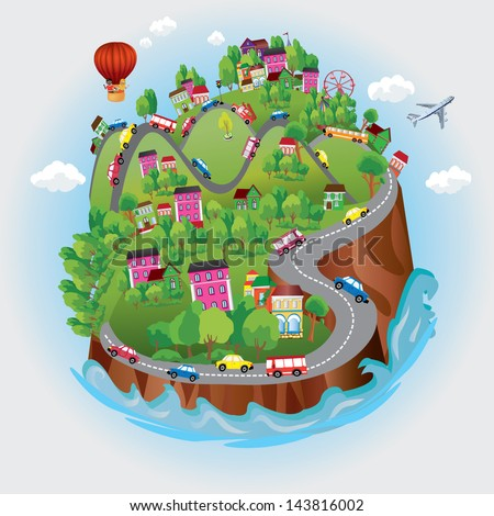 Miniature globe. Vector. Various landscapes like mountain, beach, ocean, town, city, woods and also transports and communications. - stock vector