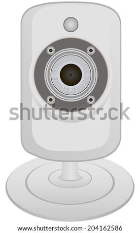 Miniature video camera for capturing and transmitting information. Vector illustration. - stock vector