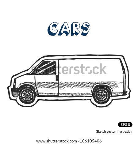 Minibus for cargo transportation. Hand drawn sketch illustration isolated on white background - stock vector