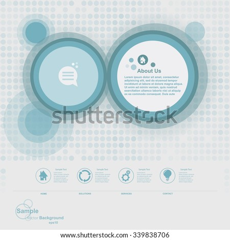 Minimal abstract web design with blue circles vector graphic - stock vector