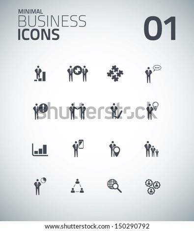 Minimal business icon set vector 01 - stock vector