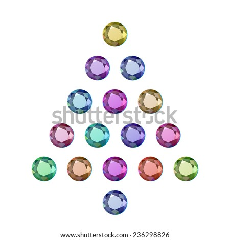 Minimal Christmas tree  of varicolored crystals on a white background - stock vector