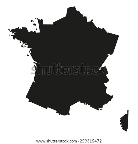 Minimal concept of the geographical map of France - stock vector