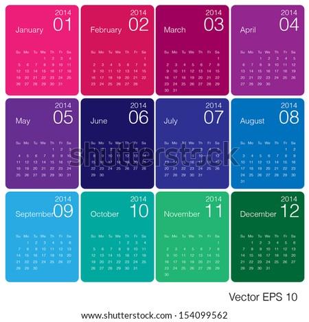 Minimal Design 2014 calendar vector - stock vector
