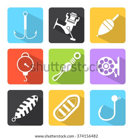 Minimal fishing equipment / Flat design icons - stock vector