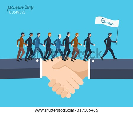 Minimal flat character of business partnership concept illustrations - stock vector